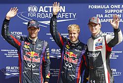 GP Italien - Qualifying: Mark Webber, Sebastian Vettel, Nico Hülkenberg (v. l. n. r.)