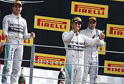 GP Italien - Hamilton (Mitte) siegt vor Rosberg (links) und Masse (rechts)
