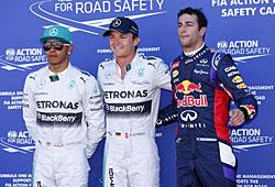 GP Monaco - Die ersten Drei des Qualifyings (v. l. n. r.):  Lewis Hamilton, Nico Rosberg, Daniel Ricciardo