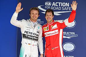 GP Brasilien - Rennen: Nico Rosberg (r.) hat die Nase im Kampf um den Vizetitel vor Sebastian Vettel vorngewann das Duell