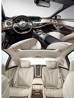 Mercedes-Maybach S-Klasse - Innenraum vorne (o.) und Fond (u.)