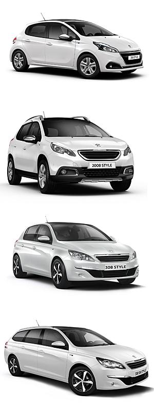 Peugeot-Style-Sondermodelle (v. o. n. u.): 208, 2008, 308, 308 SW