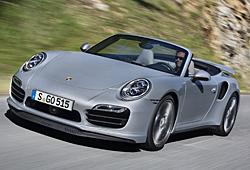 Porsche 911 Turbo Cabriolet - Frontansicht und Dach geöffnet