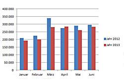 Neuzulassungen - Januar bis Juni 2013
