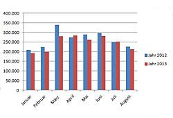 Neuzulassungen - Januar bis August 2013
