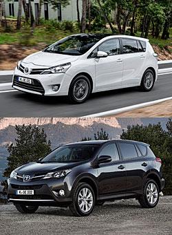 Toyota Verso (oben) und Toyota RAV4 (unten)