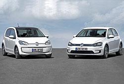 VW e-up! (l.) und VW e-Golf - Frontansicht