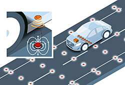 Volvo: Test mit Fahrbahnmagneten