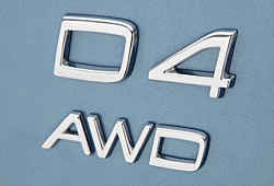 Volvo D4 AWD-Typbenschild